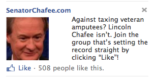 """Against taxing veteran amputees? Lincoln Chafee isn't. Join the group that's setting the record straight by clicking 'Like'!"""